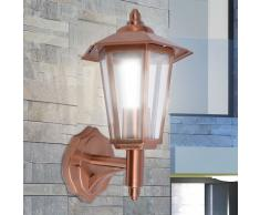 vidaXL Lámpara farol de pared para exterior acero inoxidable color cobre