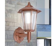 vidaXL Lámpara farol de pared para exterior acero inoxidable color cobre