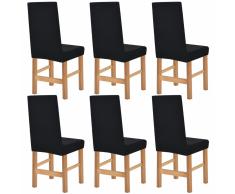 vidaXL Funda elástica para silla de franja ancha negra 6 unidades