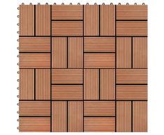 vidaXL Baldosas de porche de WPC 30x30 cm 1 m² color teca 11 unidades