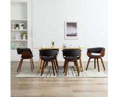 vidaXL Sillas de comedor 6 unidades de madera curvada y tela gris