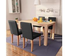vidaXL Sillas y mesa comedor 5 piezas roble y cuero artificial negro
