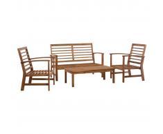 vidaXL Juego de muebles de jardín 4 piezas madera maciza de acacia