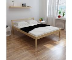 vidaXL Cama de madera de pino maciza natural 140 x 200 cm