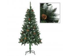 vidaXL Árbol de Navidad artificial con piñas y brillo blanco 150 cm