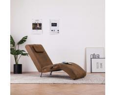 vidaXL Diván de masaje con almohada de piel de ante artificial marrón