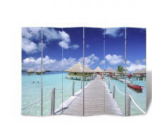 vidaXL Biombo con diseño de playa, 240 x 180