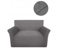 vidaXL funda elástica para sofá de punto de algodón color gris