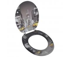vidaXL Tapa de wc de madera MDF, con modelo de Nueva York