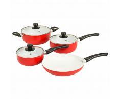 vidaXL Batería de cocina 7 piezas aluminio rojo