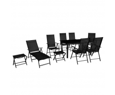 vidaXL Set de muebles jardín plegables 10 piezas aluminio negro
