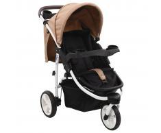 vidaXL Cochecito/Silla de paseo de 3 ruedas gris topo y negro