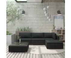 vidaXL Set muebles de jardín 5 piezas y cojines ratán sintético negro