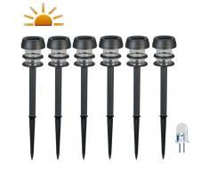 Luxform Balizas solares LED de jardín Lagos 6 unidades negras 30669
