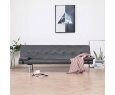 vidaXL Sofá cama con dos almohadas de cuero sintético gris