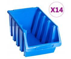 vidaXL Cajas de almacenaje apilables 14 unidades plástico azul