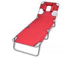 vidaXL Tumbona roja plegable con cojín para la cabeza y respaldo ajustable