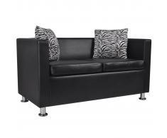 vidaXL Sofá de 2 plazas de cuero artificial negro