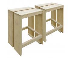 vidaXL Taburetes de jardín 2 unidades madera de pino impregnada FSC
