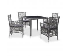 vidaXL Conjunto de muebles de jardín 5 piezas ratán sintético gris