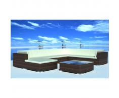 vidaXL Conjunto de muebles exterior 24 piezas marrón poli ratán