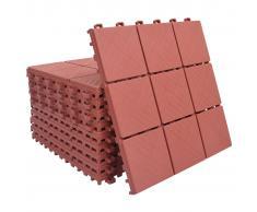 vidaXL Baldosas de terraza 10 uds plástico rojo 30,5x30,5 cm