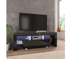 vidaXL Mueble para TV con luces LED negro brillante 130x35x45 cm