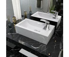 vidaXL Lavabo con agujero grifo rectangular cerámica 46x25,5x12 blanco