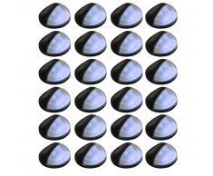 vidaXL Lámparas solares LED de pared exterior redondas 24 uds negras