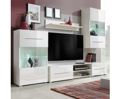 vidaXL Mueble de pared 5 uds gabinete TV con iluminación LED blanco