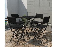vidaXL Set comedor de jardín plegable 5 pzas poli ratán y acero negro