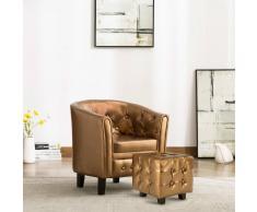 vidaXL Sillón con diseño de cubo y reposapiés cuero sintético marrón