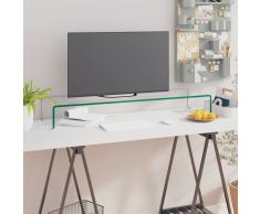 vidaXL Soporte para TV/Elevador monitor cristal claro 100x30x13 cm