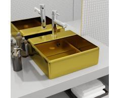 vidaXL Lavabo con rebosadero 41x41x15 cm cerámica dorado