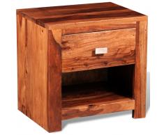 vidaXL Mesita de noche con 1 cajón madera sheesham