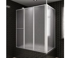 vidaXL Mampara de ducha con 4 paneles plegables y toallero