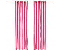vidaXL Cortinas con anillas de metal 2 pzas tela rosa rayas 140x175 cm