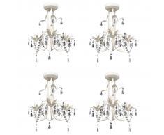 vidaXL Lámparas de araña de cristal 4 unidades blanco elegante
