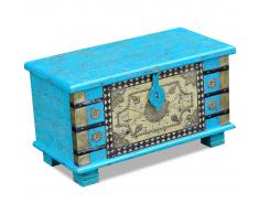 vidaXL Baúl de almacenamiento madera mango azul 80x40x45 cm