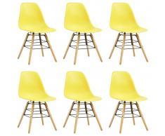 vidaXL Sillas de comedor 6 unidades amarillo