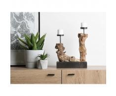 Beliani Candelero de madera FLORES