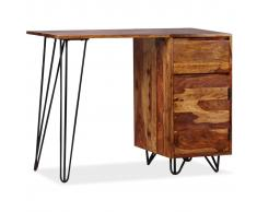 vidaXL Escritorio con 1 cajón y 1 armario de madera maciza de sheesham