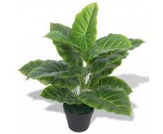 vidaXL Planta de taro artificial con macetero verde 45 cm