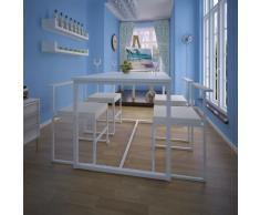 vidaXL Conjunto de mesa de comedor y sillas 5 piezas blanco