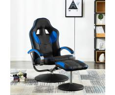 vidaXL Silla de oficina reclinable con reposapiés cuero sintético azul