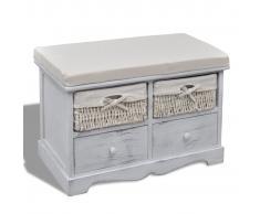 vidaXL Banco de almacenaje de madera de Paulownia blanco 62x33x42 cm