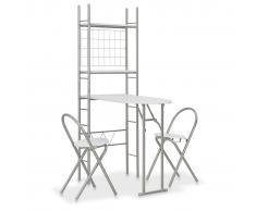 vidaXL Set de comedor plegable con estante 3 piezas MDF y acero blanco