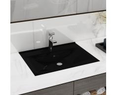 vidaXL Elegante lavabo rectangular de ceramica negro agujero para grifo