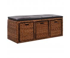 vidaXL Banco con 3 cestas hierba marina 105x40x42 cm marrón