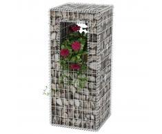 vidaXL Cesta poste/jardinera de gaviones de acero 50x50x120 cm